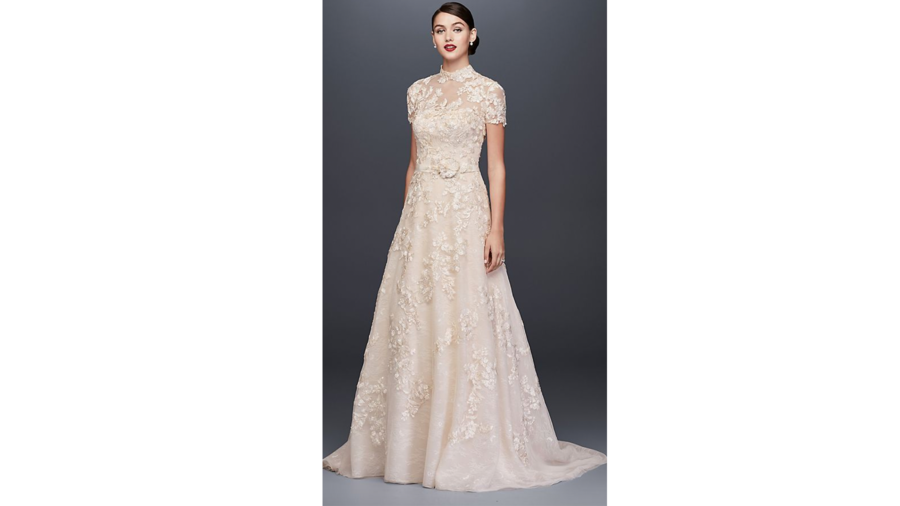 Lace Appliqued A-Line Wedding Dress and Topper