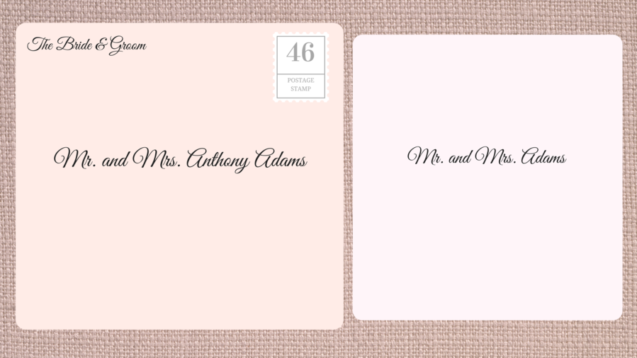 Addressing Double Envelope Wedding Invitations to Married Couple
