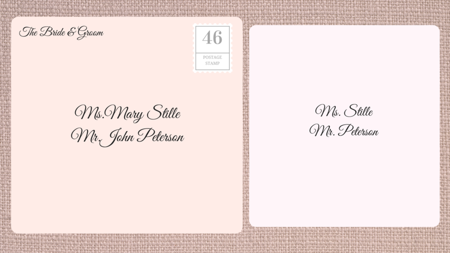 Addressing Double Envelope Wedding Invitations to Unmarried Couple