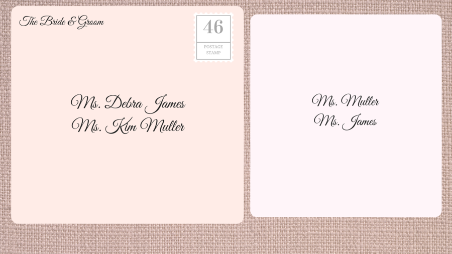 Addressing Double Envelope Wedding Invitations to Same Gender Couple