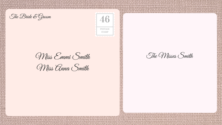 Addressing double envelope wedding invitations to family with adult daughters