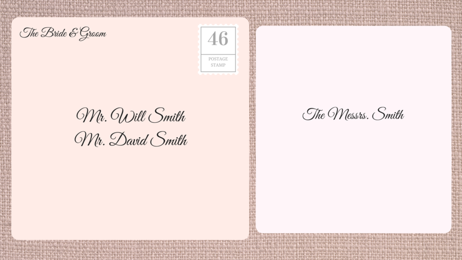 Addressing Double Envelope Wedding Invitations to Family with Adult Sons