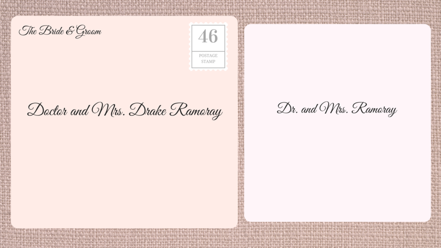 Addressing Double Envelope Wedding Invitations to Doctor