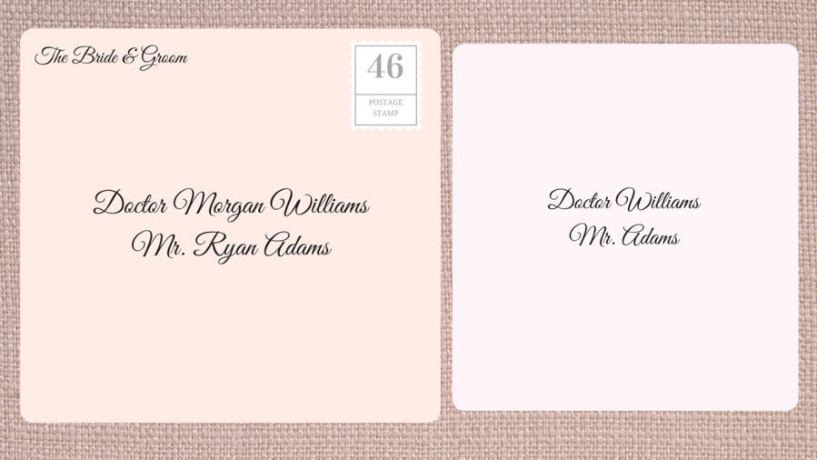Addressing Double Envelope Wedding Invitations To Married Female Doctor