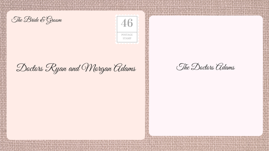 Addressing Double Envelope Wedding Invitations to Married Doctors