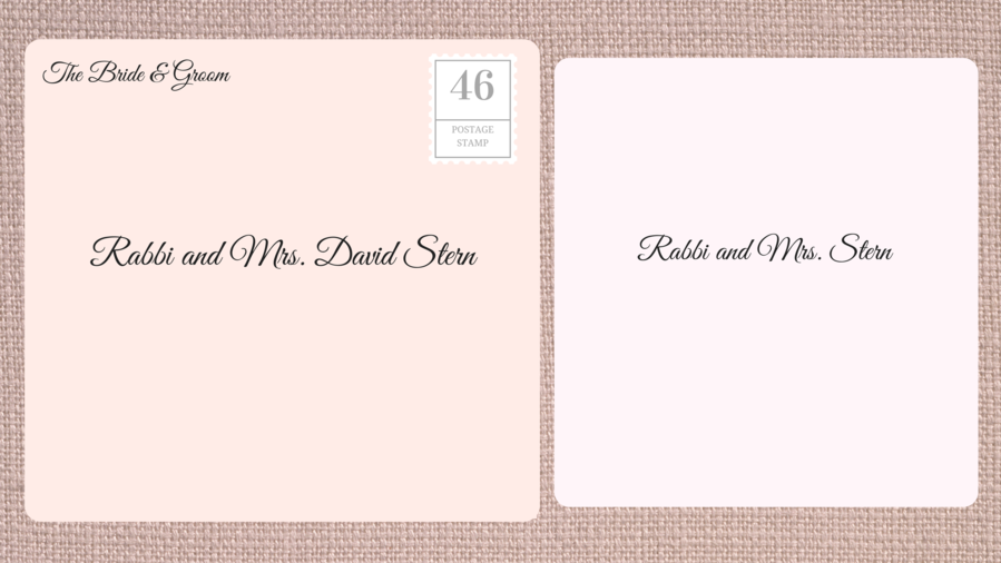 addressing double envelope wedding invitations to rabbi