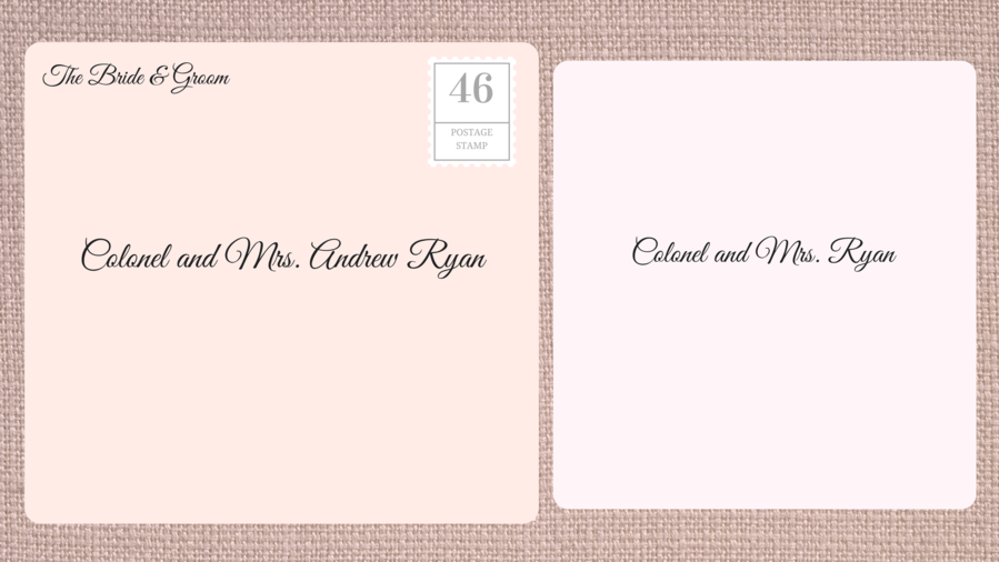 Addressing Double Envelope Wedding Invitations to Male Military Officer