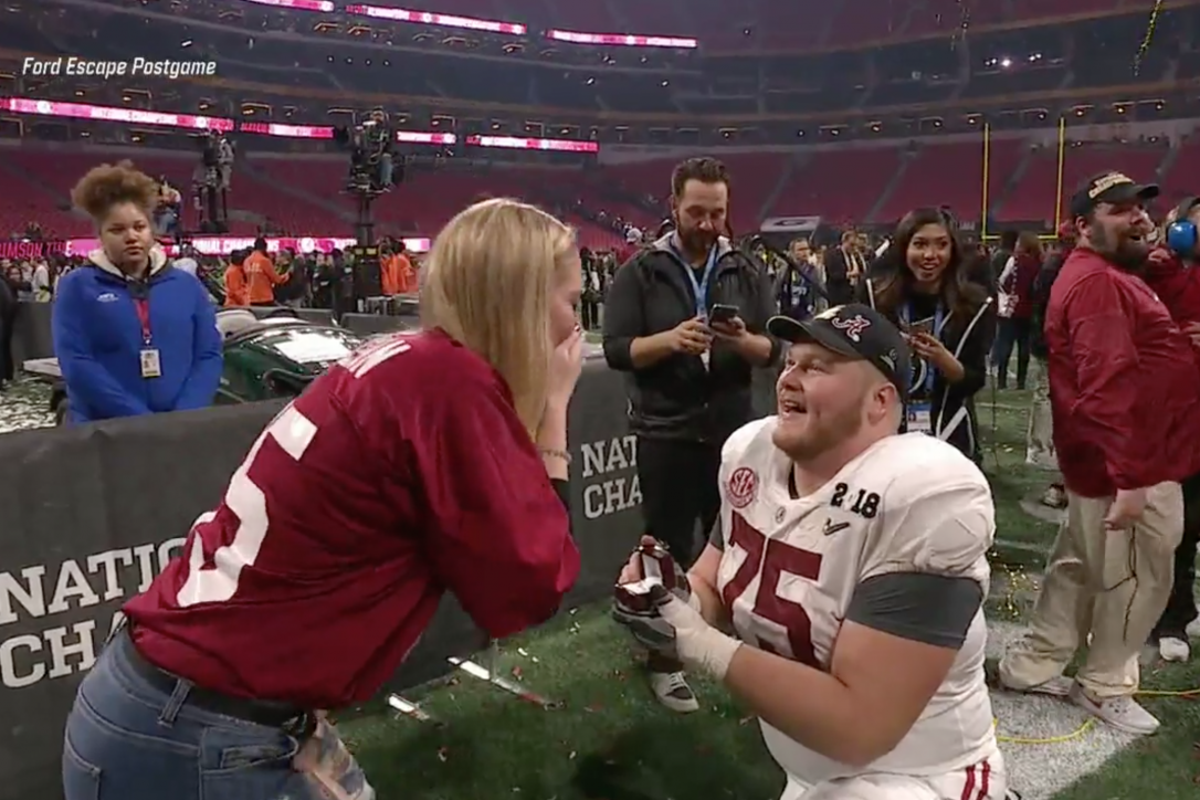 Watch: Alabama Center Bradley Bozeman Proposes After Crimson Tide Win National Championship