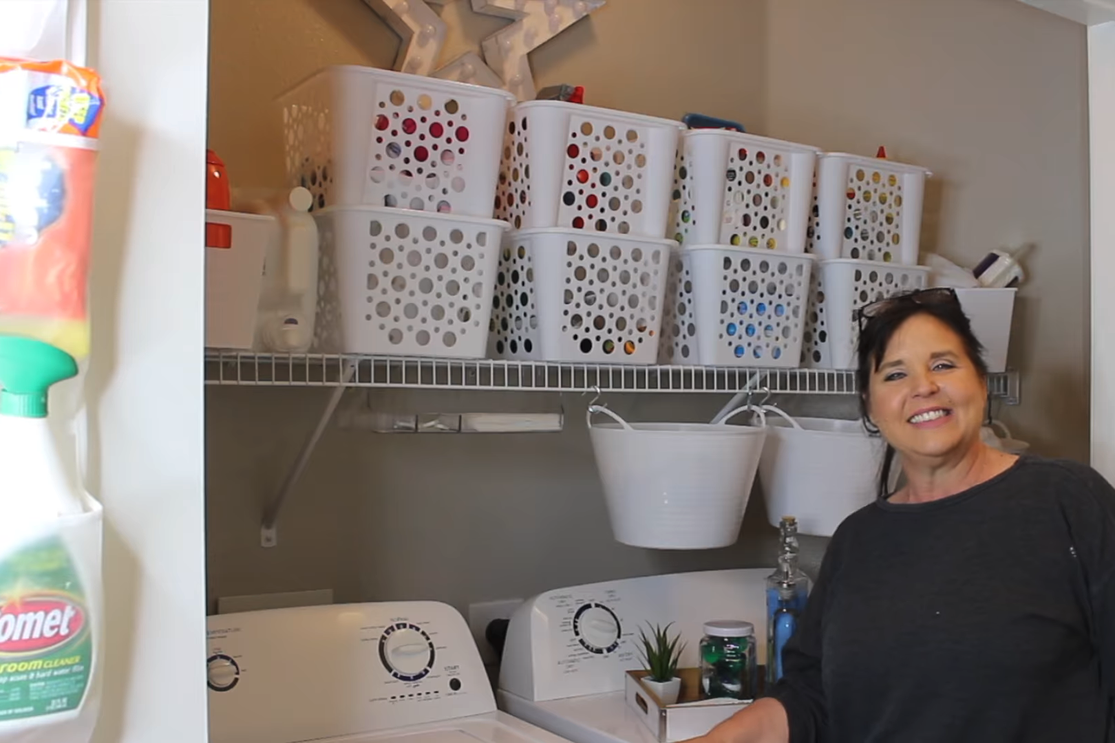 Watch This Woman Transform Her Tiny Laundry Room With Dollar Tree Products