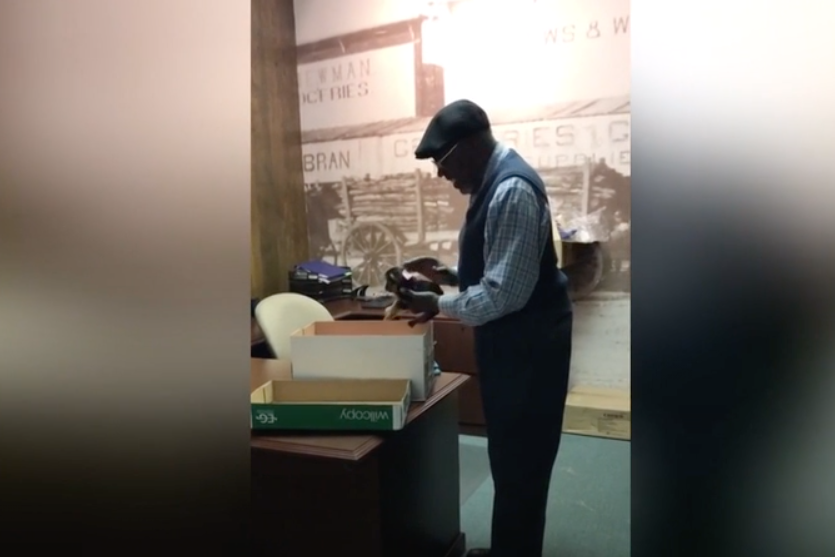 Hard-Working Janitor Receives Fluffy Surprise From His Coworkers for His Birthday