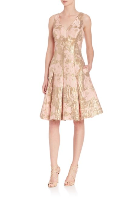 Gold and Blush Jacquard Pleated Party Dress