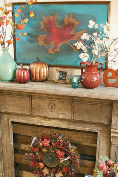 Orange & Turquoise Mantel