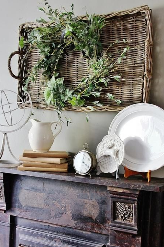 Wicker Basket Mantel
