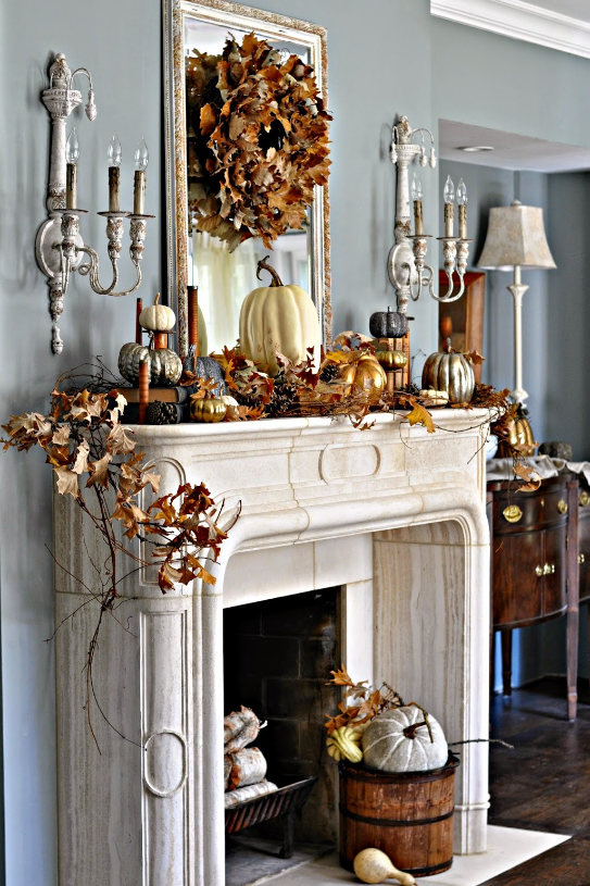 Metallic Pumpkin Mantel
