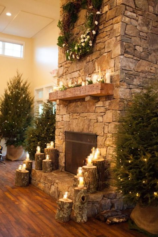 Rustic Wreath Mantel