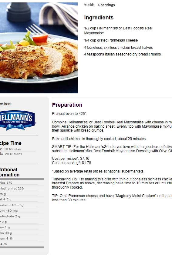Hellmann's: Parmesan Crusted Chicken