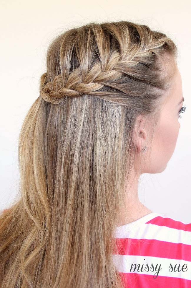4th of July Hairstyle Half-Up French Braids