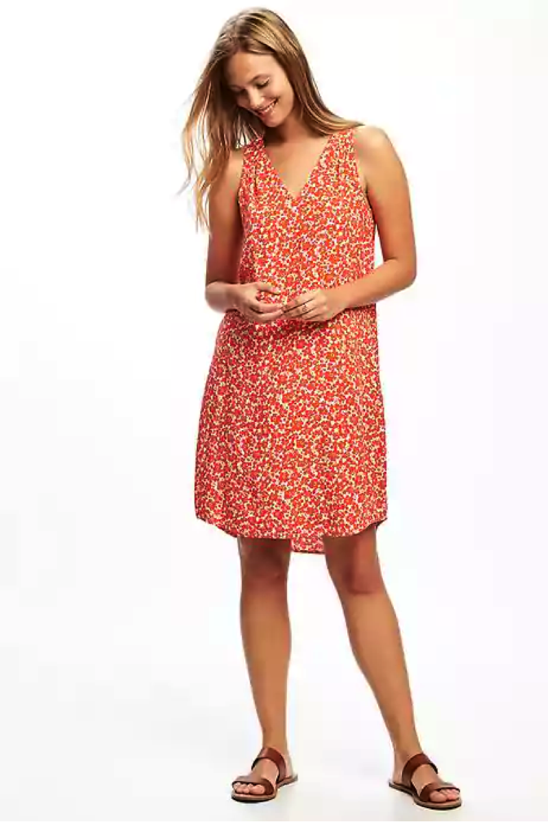 Patterned V-Neck Shift Dress for Women
