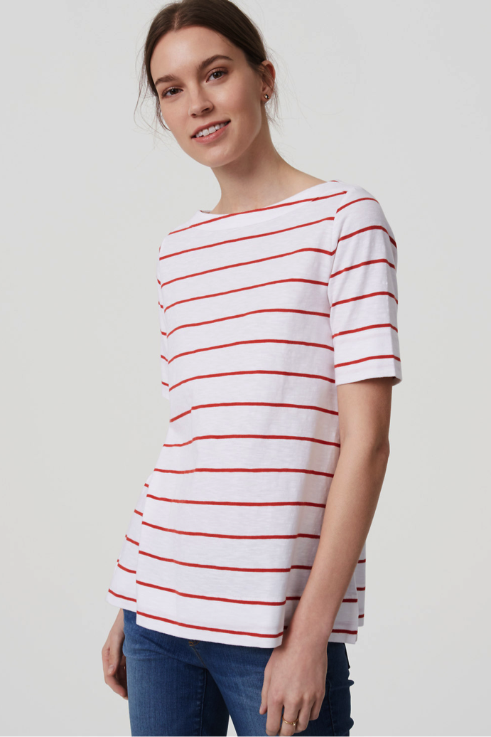Striped Cotton Boatneck Tee