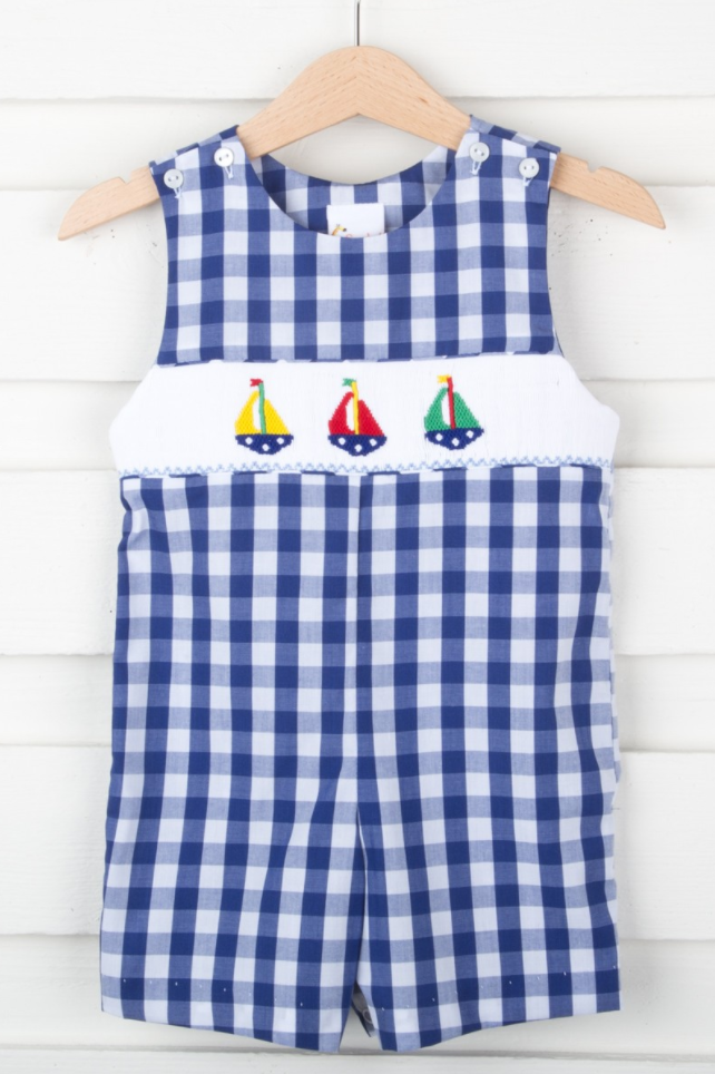 Sailboat Smocked Jon Jon Navy Check