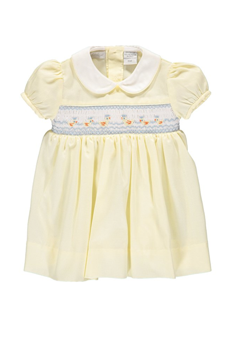 Classic Hand-Smocked Dress with Yellow Spring Ducks