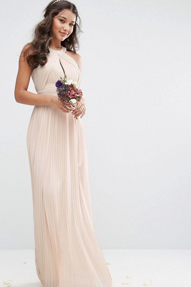 Pleated Maxi Dress in Nude