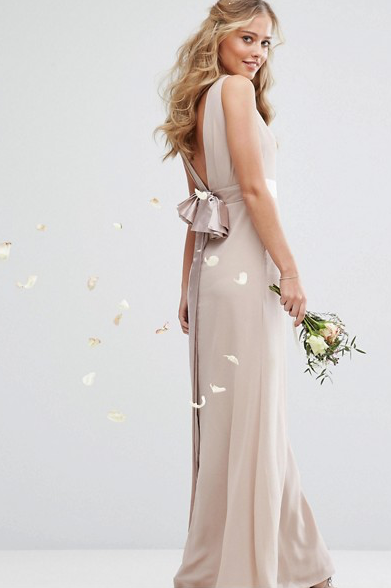 Mauve Sateen Bow Back Maxi Dress