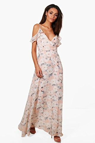 Boohoo Women's Clare Floral Print Cold Shoulder Maxi Dress