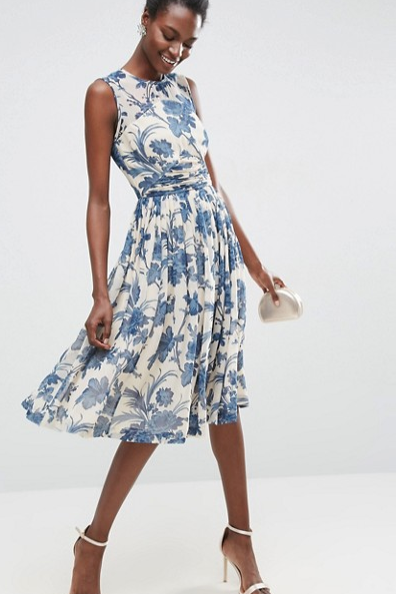 Midi Dress With Ruched Panel Detail in China Blue Print