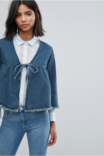 Lost Ink Cropped Denim Jacket With Bow