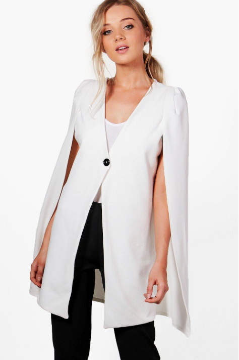 Amanda Button Longline Tailored Crepe Cape