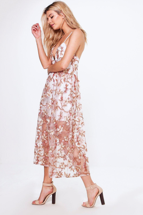 Boohoo Boutique Pia Embroidered Midi Skater Dress