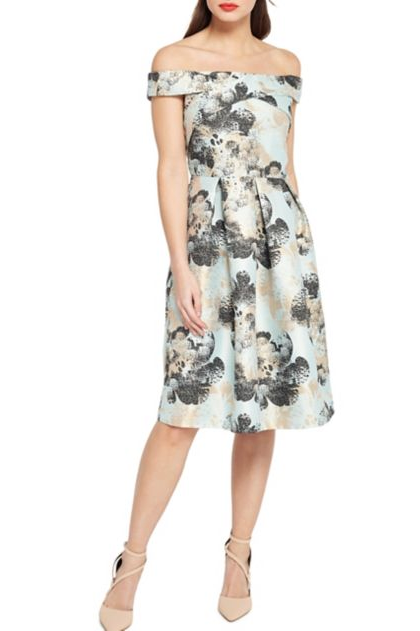Miss Selfridge Jacquard Bardot Fit-and-Flare Dress