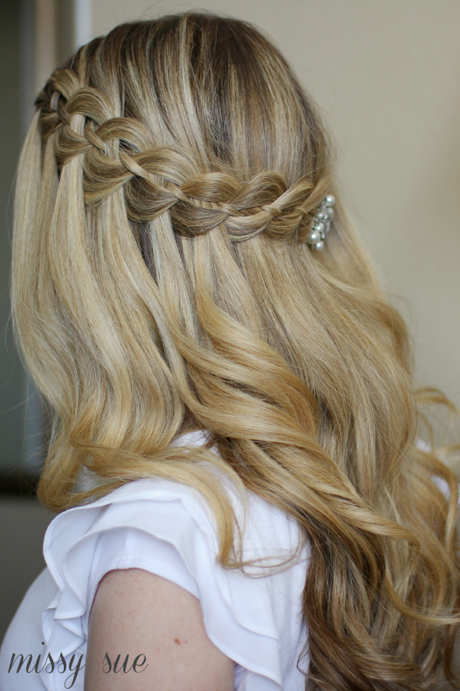 1709_ Half-Up Bridesmaid Hairstyles Four-Strand Waterfall Braid