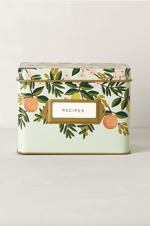 For Hostess Gifts/Thank-You's: Citrus Floral Printed Recipe Tin