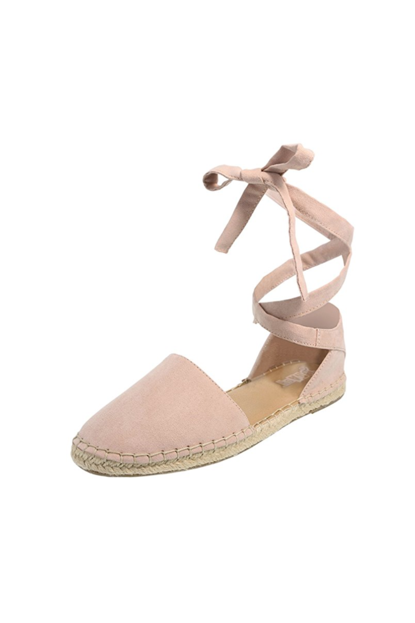 Pink Blush Suede Tie Up Espadrilles