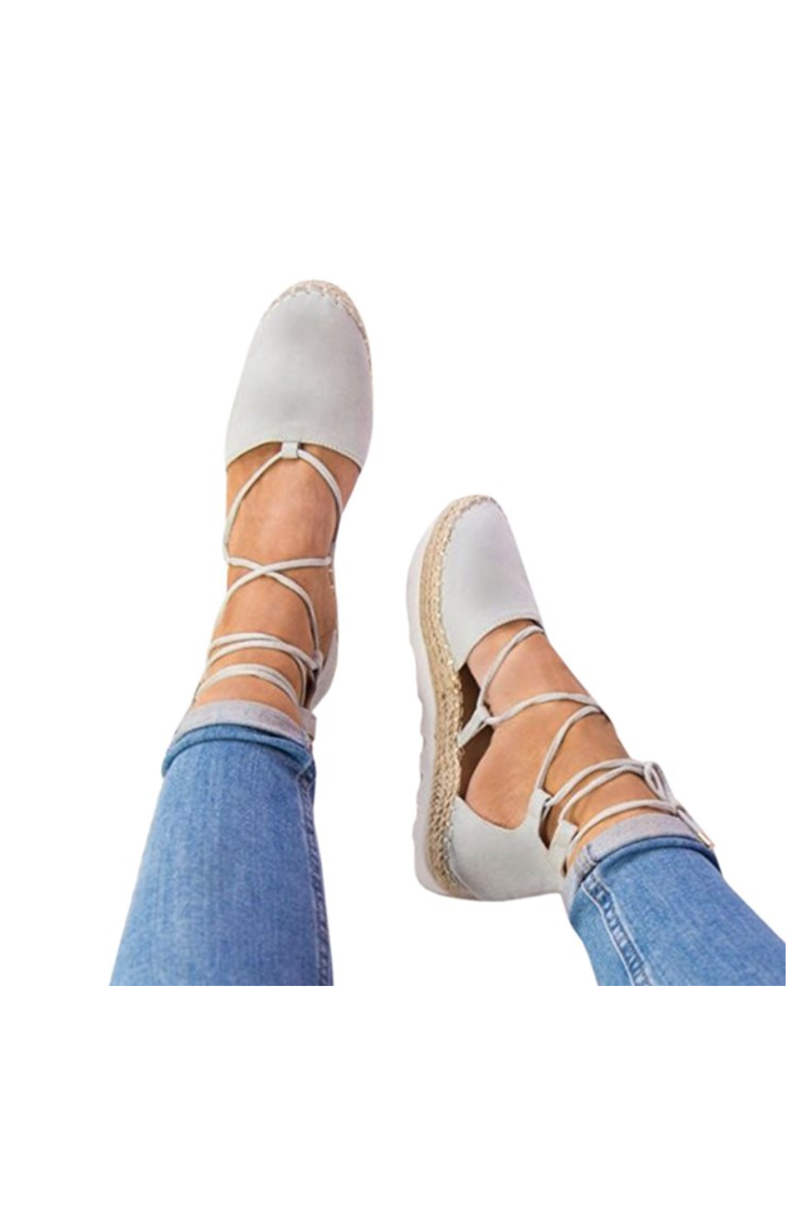 Gray Lace Up Espadrille Platform Sandals