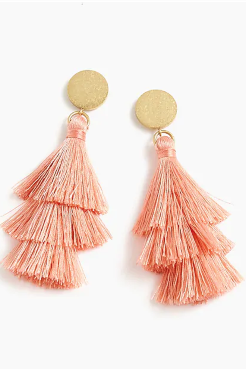 Coral Tiered Tassel Earrings