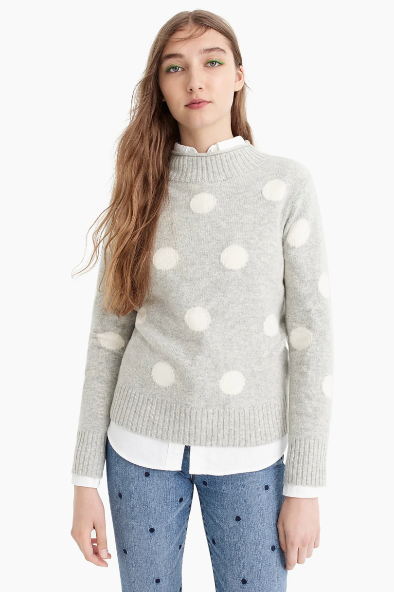 Ivory Polka Dot Crew Neck Sweater