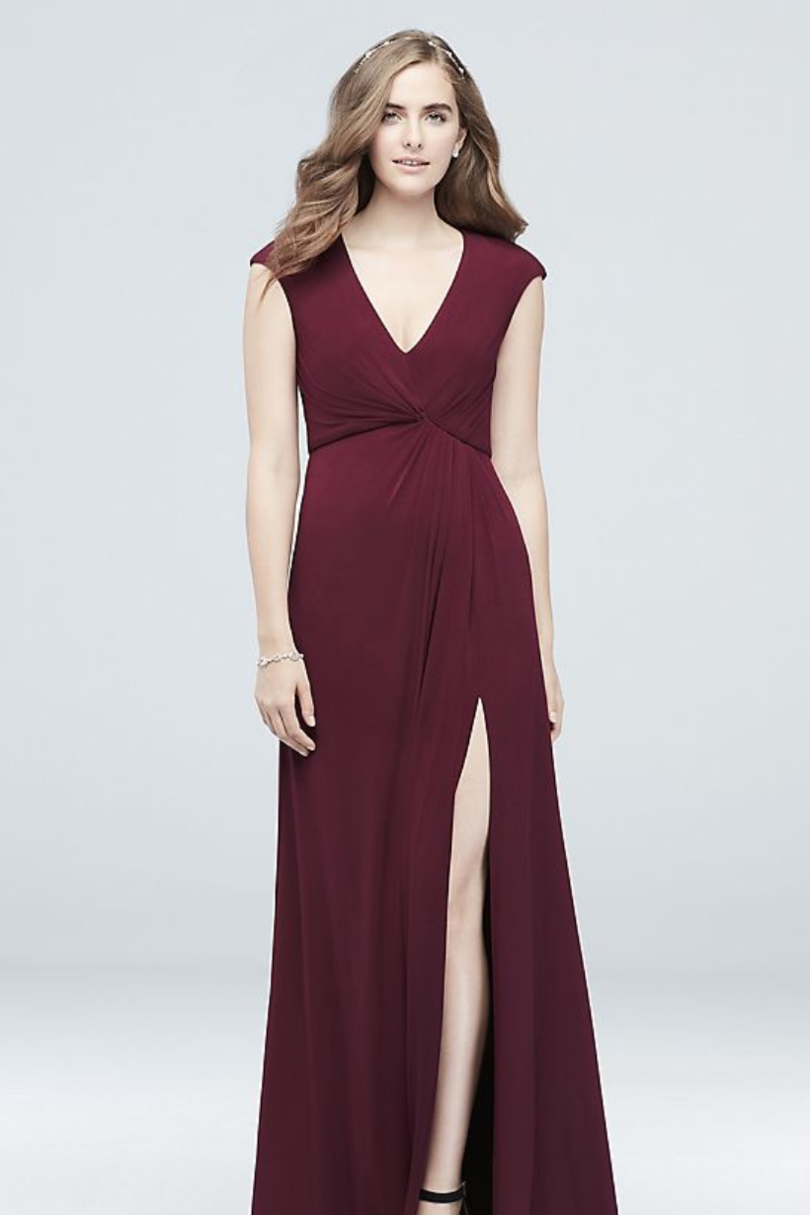 RX_1901_Bridesmaid Dress Trends for 2019_DB Studio Gathered Jersey V-Neck Dress with Keyhole Back