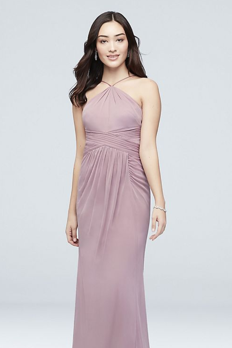 f3c3f226b19 Reverie Y-Neck Mesh Bridesmaid Dress with Pleated Waist