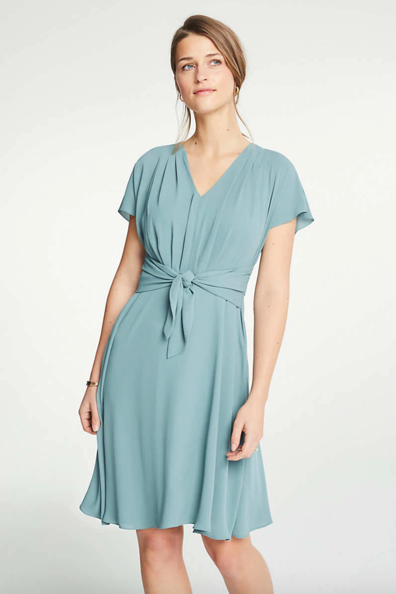 Ann Taylor V-Neck Tie Front Flare Dress