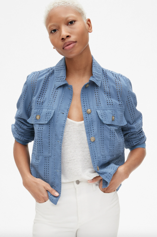 Gap Icon Eyelet Embroidered Jacket
