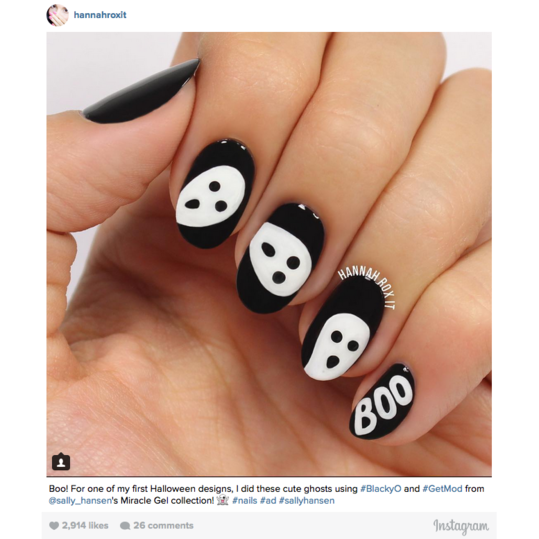 12 halloween nail art ideas southern living halloween nail art ghosts prinsesfo Images