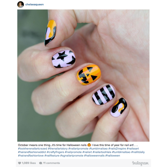 Halloween Nail Art: Stripes, Stars, and Pumpkins