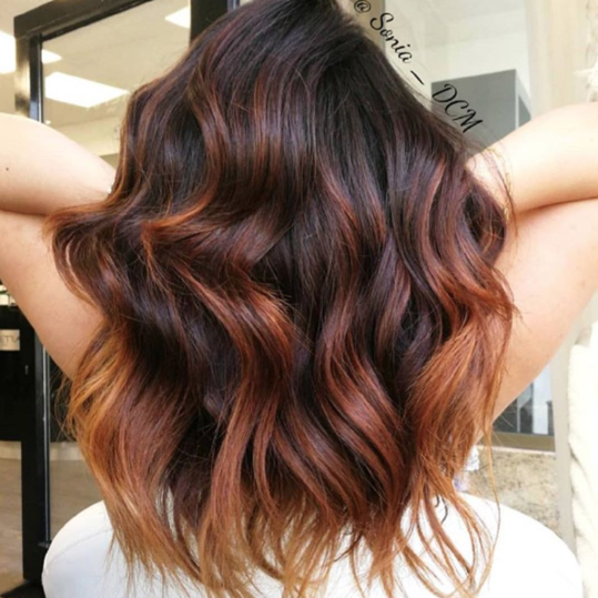 Chestnut Highlights with Copper Balayage
