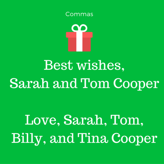 Christmas Card Grammar Mistakes Closing Commas