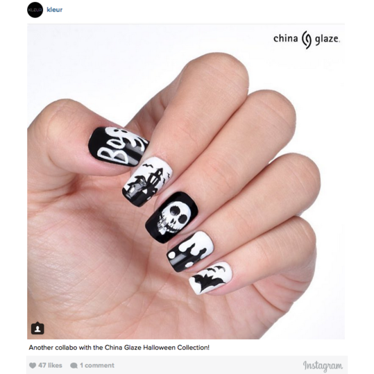 12 halloween nail art ideas southern living halloween nail art black and white prinsesfo Images
