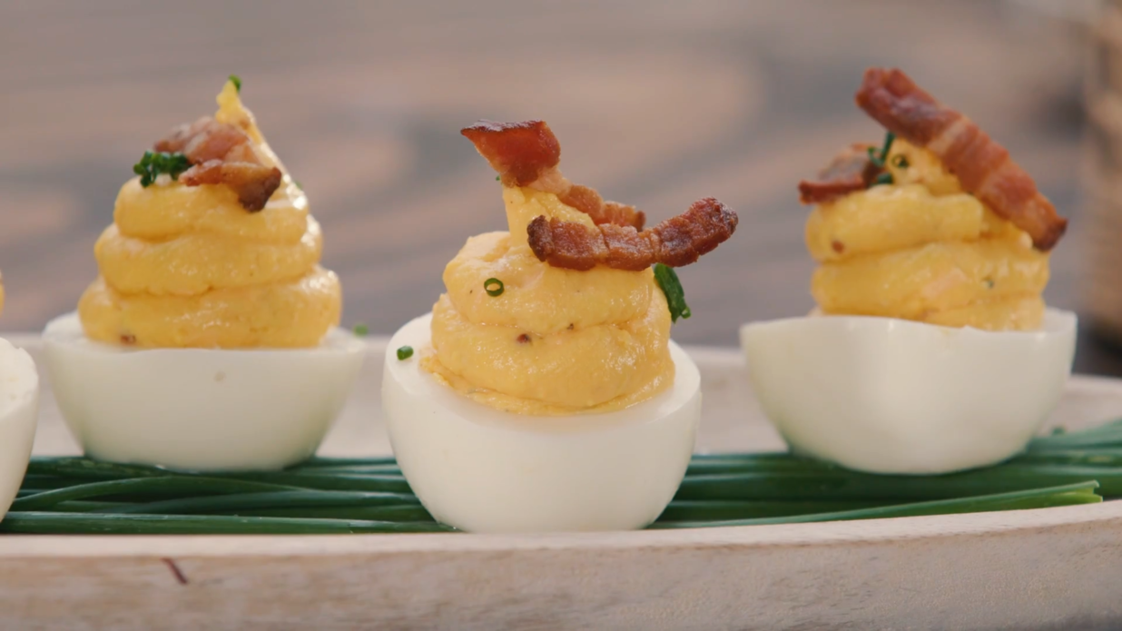 Smoked Deviled Eggs with Bacon
