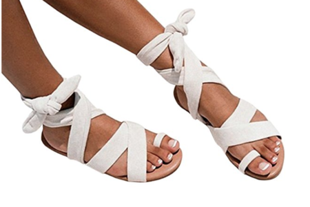 White Cloth Lace-Up Flat Sandals